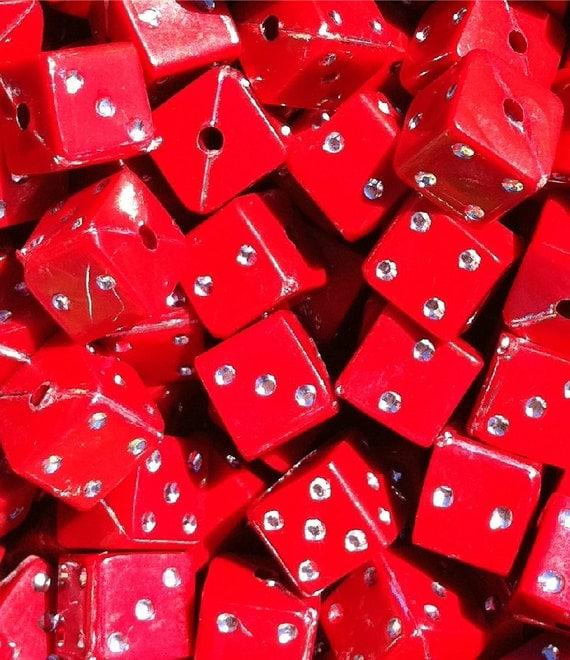 100 ct Bling Dice Beads 7mm Rhinestone Scarlet Red (SBSQD7-1008)