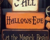 All Hallows Eve Halloween Wood Block Set