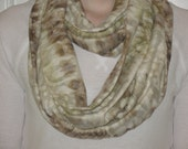 Eternity Circle Scarf Cream with Brown and Green-  Infinity Scarf, Necklace Scarf, Eternity Scarf, Loop Scarf