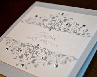 Silver and white rhinestone place cards