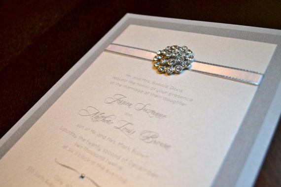 Silver Wedding Invitations: Items Similar To Silver And White Rhinestone Wedding