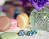 Teal mini berries set: hoop earrings & adjustable ring - Berry bush jewelry collection - Free Worldwide Shipping - Gift for her under 30