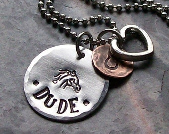 Personalized Handstamped Horse necklace