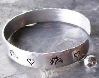 Hand Stamped Horses and Hearts Aluminum Cuff