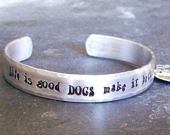 Personalized Dog Quote Cuff Bracelet for the Dog Lover