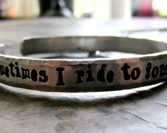 Hand Stamped Cuff Bracelet-Horse Quote-Equestrian Jewelry