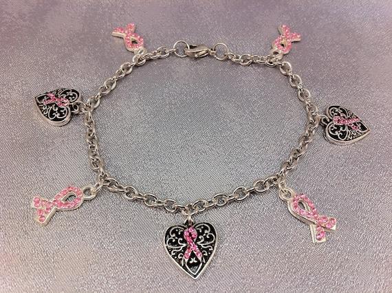 Breast cancer awareness charm bracelet by braceletsforcancer