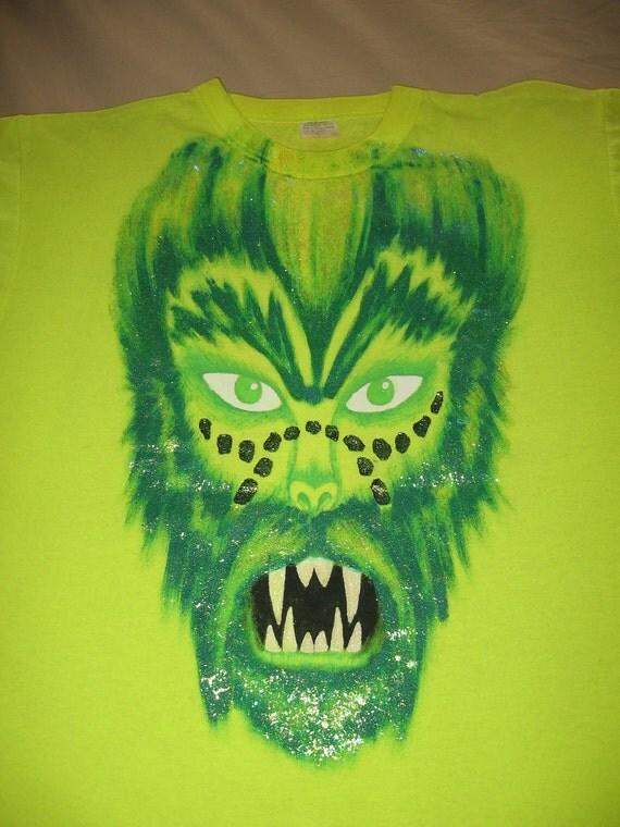 Handpainted Neon Green Monster Werewolf T Shirt Large Glow In The Dark Glitter Halloween