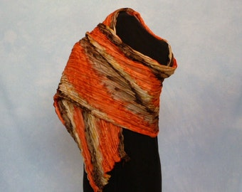 Handpainted Twisted Pleated Silk Scarf/Shawl Fall Colors Orange Sand Cocoa