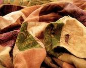 Bohemian Patchwork quilt throw blanket pink orange aged.