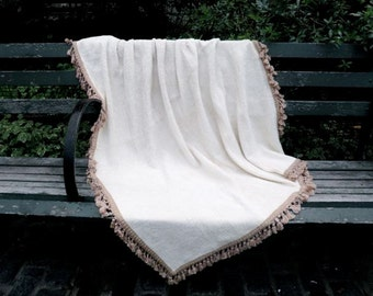 Baby blanket Creme patchwork chenille throw