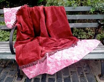 Blanket burgundy pink patchwork throw