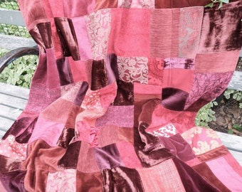 Patchwork Quilt bohemian burgundy velvet throw blanket