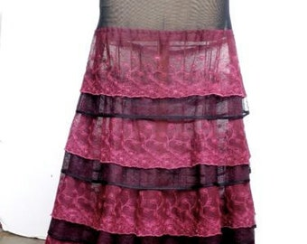 Ruffle skirt long black burgundy sheer lace tiered