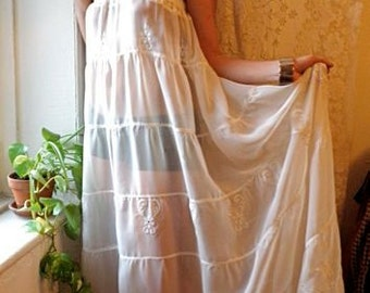 Strapless dress upcycled vintage sheer embroidered creme sun curtain one size