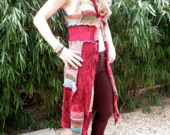 Upcycled patchwork long vest. Red, turquoise, multicolored chenille knit