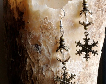 Dangle earrings snowflake crystal steampunk