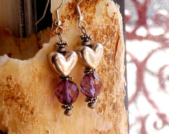 Earrings princess heart purple crystal