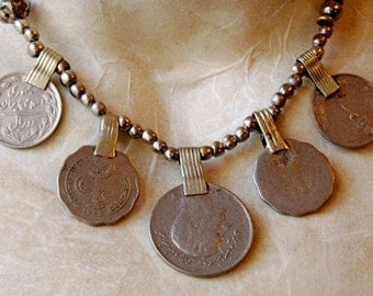 Necklace choker vintage silver coins