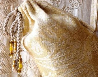 Yoga bag, beaded, yellow and white cotton brocade