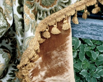 Chenille patchwork green and gold throw tassel fringe trim