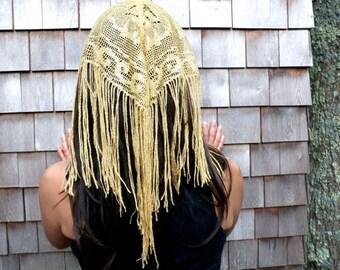 Gold headband lace fringe