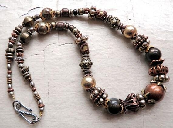 Steampunk inspired necklace choker copper silver brass
