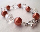 Chunky Burnt Orange Glass Pearl Texas Longhorns Bracelet