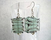 Earrings Aqua Green Glass Square w Bright Silver Accents