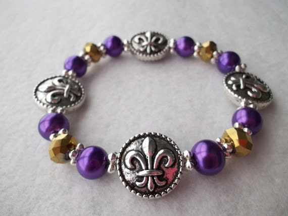 Purple and Gold Metallic Fleur - de - Lis Stretch Bracelet LSU