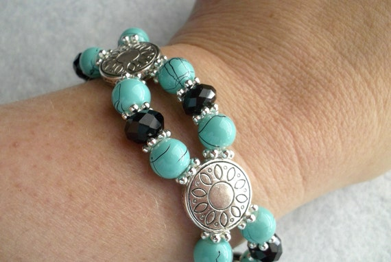 Turquoise and Black Double Strand Stretch Bracelet Glass Bead Silver Slider Accent