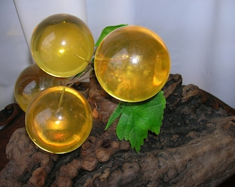 Yellow Lucite Acrylic Grapes and Leaves on Driftwood