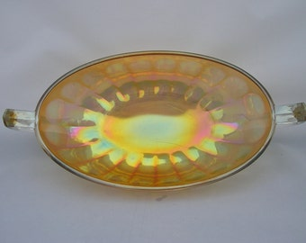 Marigold Carnival Glass Oval Bowl Dish with Handles