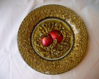 Goofus Glass Gold Plate The Two Apples Gold and Red Painted