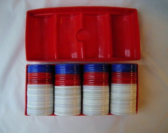 Vintage Mixed Poker Chips with Red Plastic Case