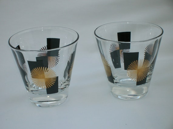 Mid Century Modern Glasses with Gold Sunbursts and Black Rectangles Set of Two