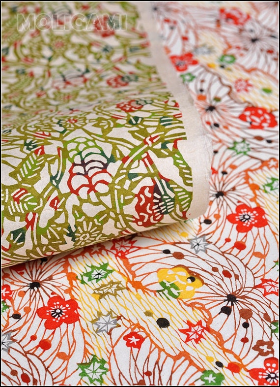 Japanese paper katazome washi two set sheets set