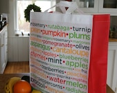 Grocery bag tote with veggie and fruit names . eco durable . SALE