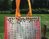 Reusable, recyclable tote for the gardener, garden or grocery store  . eco durable . Makes a great house gift . summertime. SALE