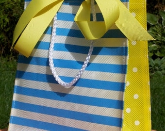 Reusable Blue and White Stripe with Yellow and White Polka dots Party Gift Bag . 6 totes