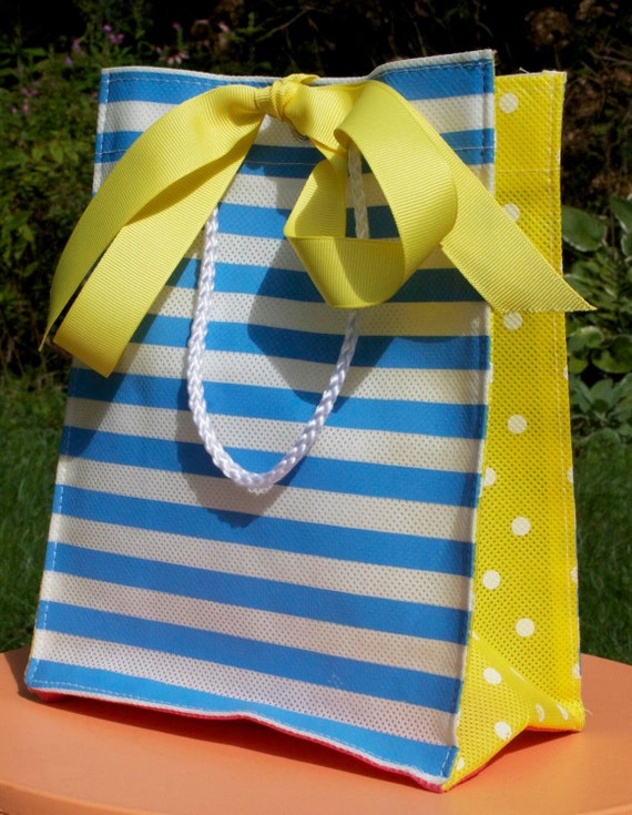 Reusable Blue and White Stripe with Yellow and White Polka dots Party Gift Bag . Easter Basket Alternative . kids and baby showers SALE