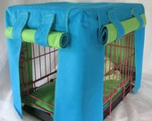 Fabric Crate Cover Fully Lined in Lime and Teal