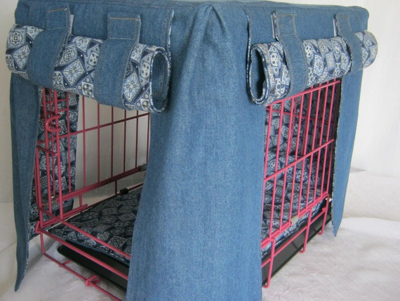 Crate Bedding Cover Fully Lined in Blue Bandanna