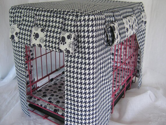 Crate Bedding Cover Fully Lined/ Navy and White Houndstooth