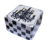 Retro Black and White Wooden Tea Box, Decorative Storage