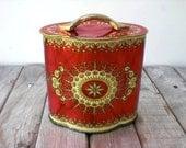 Vintage candy box. Christmas colored vintage tin. Reusable upcycled gift box.