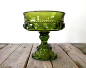 RESERVED LISTING --- Vintage Indiana glass candy dish. Olive green. Kings Crown thumbprint. Uncovered. Textured glass.