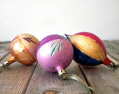 Vintage Christmas ornaments. Mercury glass. Shabby chic. Pink, gold, blue, purple. Hand painted. Poland.