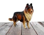 Vintage dog figurine. Collectible home decor. Ceramic golden brown collie.