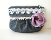 Handmade cottage chic evening bag / Venetian lace / mauve / lilac / gray / white / Victorian inspired / upcycled wool / romantic gift